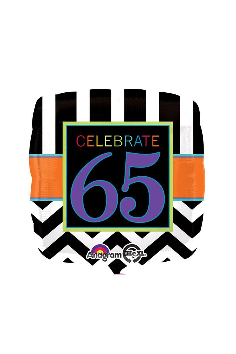 18 Happy 65th Birthday Celebration Foil Balloon
